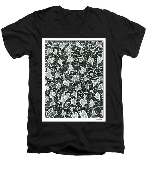 Hearts, Spades, Diamonds And Clubs In Black Men's V-Neck T-Shirt