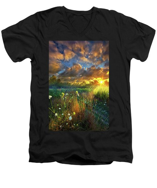 Heaven Knows Men's V-Neck T-Shirt by Phil Koch