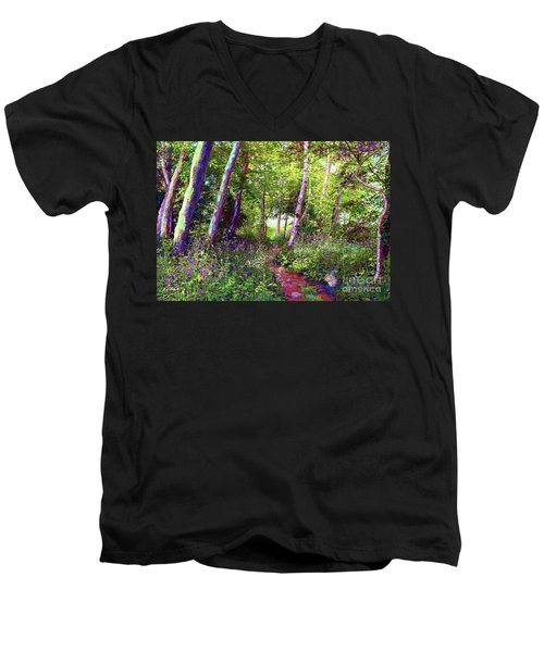 Heavenly Walk Among Birch And Aspen Men's V-Neck T-Shirt