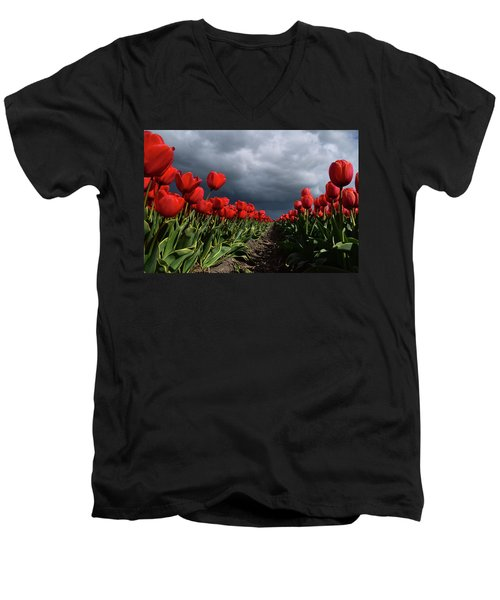 Heavy Clouds Over Red Tulips Men's V-Neck T-Shirt by Mihaela Pater