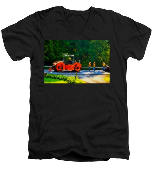 Heavy Tandem Vibration Roller Compactor At Asphalt Pavement Works For Road Repairing 2 Men's V-Neck T-Shirt by Lanjee Chee