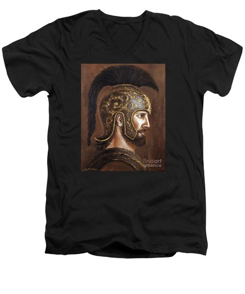 Men's V-Neck T-Shirt featuring the painting Hector by Arturas Slapsys