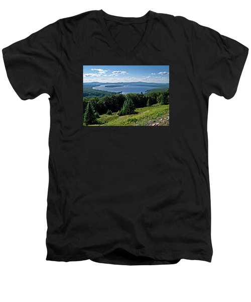 Height Of The Land Overlooking Mooselookmeguntic Lake Men's V-Neck T-Shirt by Joy Nichols