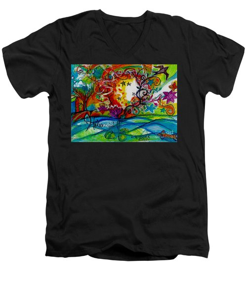 Men's V-Neck T-Shirt featuring the painting Helios And Ophelia  by Genevieve Esson
