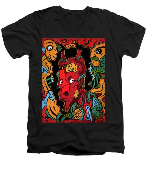 Men's V-Neck T-Shirt featuring the digital art Hell by Sotuland Art