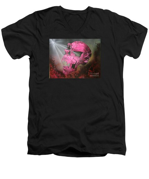 Men's V-Neck T-Shirt featuring the painting Hell by Tbone Oliver