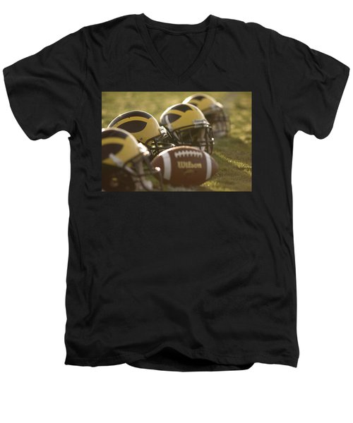 Helmets And A Football On The Field At Dawn Men's V-Neck T-Shirt