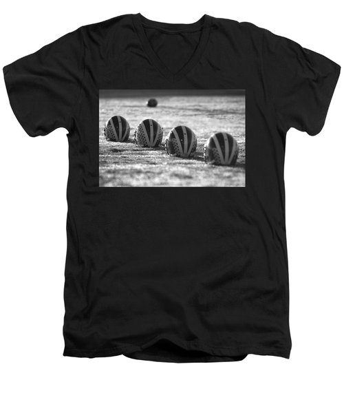 Helmets On Dew-covered Field At Dawn Black And White Men's V-Neck T-Shirt