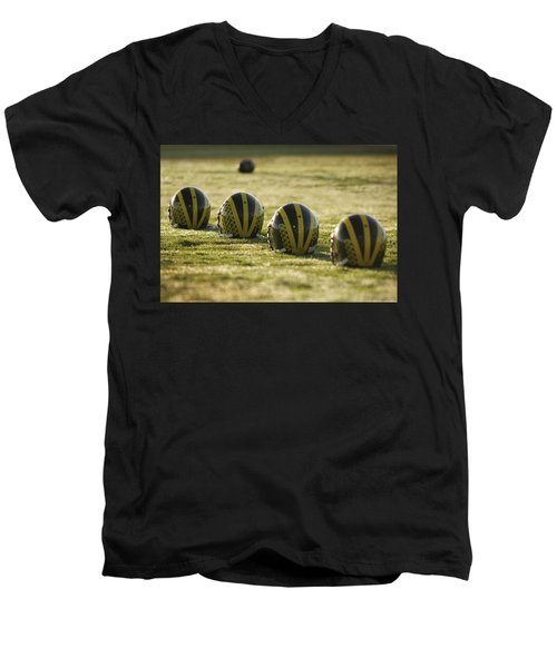 Helmets On Dew-covered Field At Dawn Men's V-Neck T-Shirt