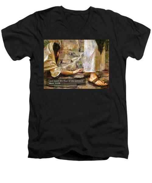 Hem Of His Garment And Text Men's V-Neck T-Shirt