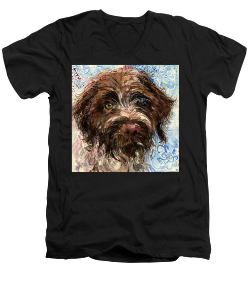 Men's V-Neck T-Shirt featuring the painting Henry by Molly Poole