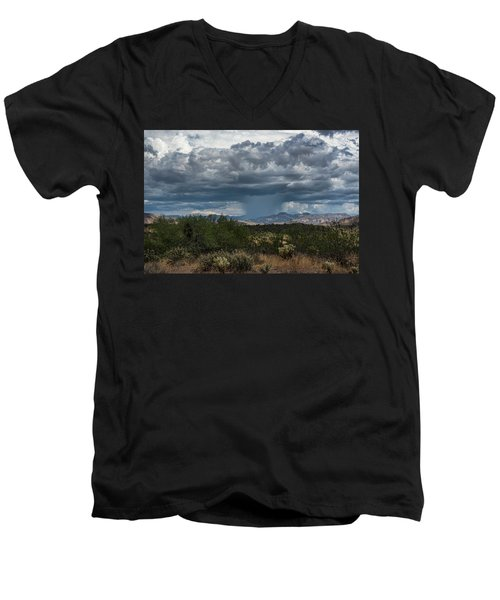 Men's V-Neck T-Shirt featuring the photograph Here Comes The Rain Again by Saija Lehtonen