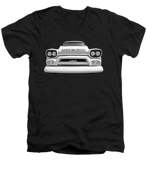 Here Comes The Sun - Gmc 100 Pickup 1958 Black And White Men's V-Neck T-Shirt