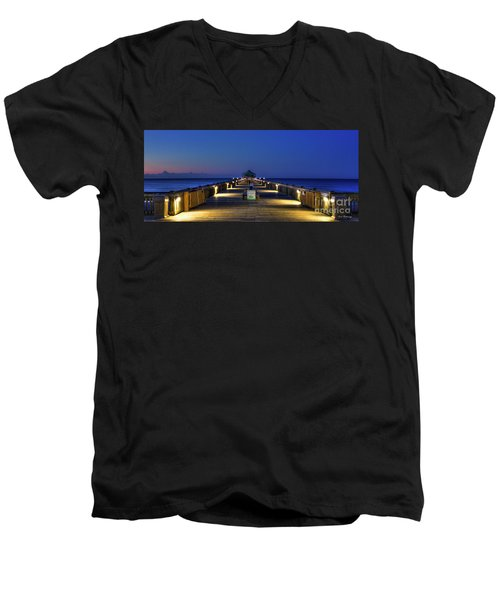 Men's V-Neck T-Shirt featuring the photograph Here It Comes Now Folly Beach Pier Sunrise Art by Reid Callaway