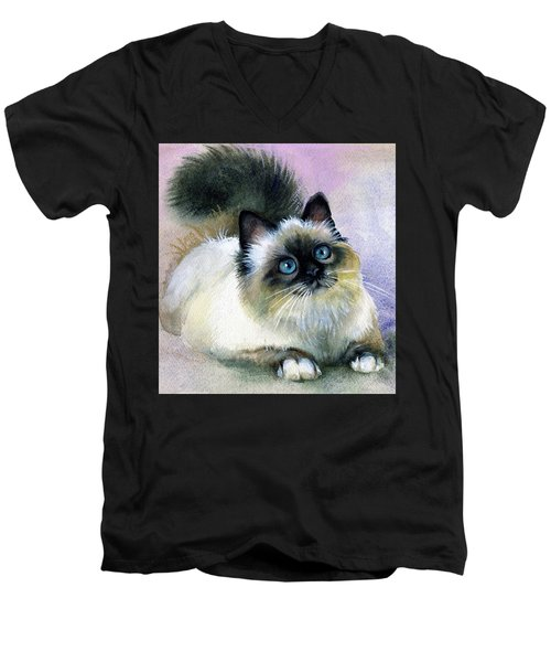 Men's V-Neck T-Shirt featuring the painting Here Kitty by Karen Showell