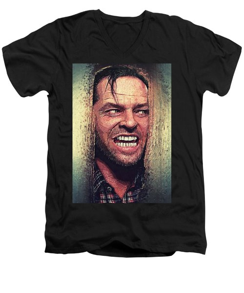 Here's Johnny - The Shining  Men's V-Neck T-Shirt