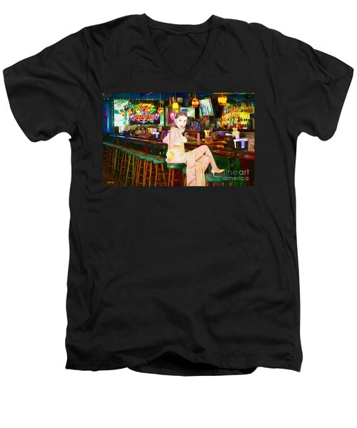 Men's V-Neck T-Shirt featuring the painting Here's To You by Judy Kay