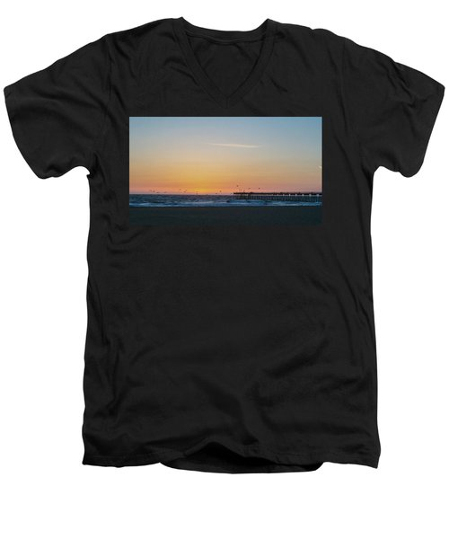 Hermosa Beach Pier At Sunset With Seagulls Men's V-Neck T-Shirt by Mark Barclay