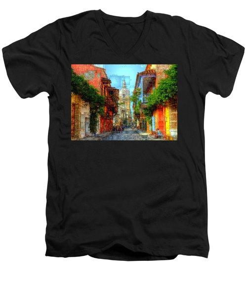 Heroic City, Cartagena De Indias Colombia Men's V-Neck T-Shirt