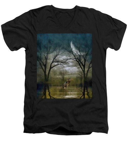 Heron By Moon Glow  Men's V-Neck T-Shirt