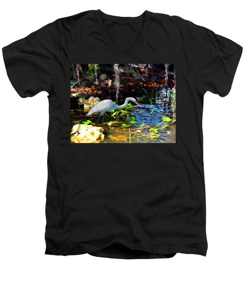 Heron In Quiet Pool Men's V-Neck T-Shirt
