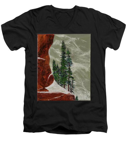 Hi Mountain Pine Trees Men's V-Neck T-Shirt