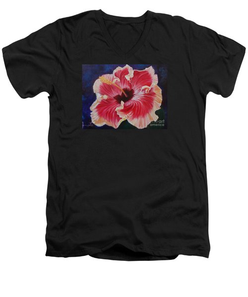Men's V-Neck T-Shirt featuring the painting Hibiscus by Jenny Lee