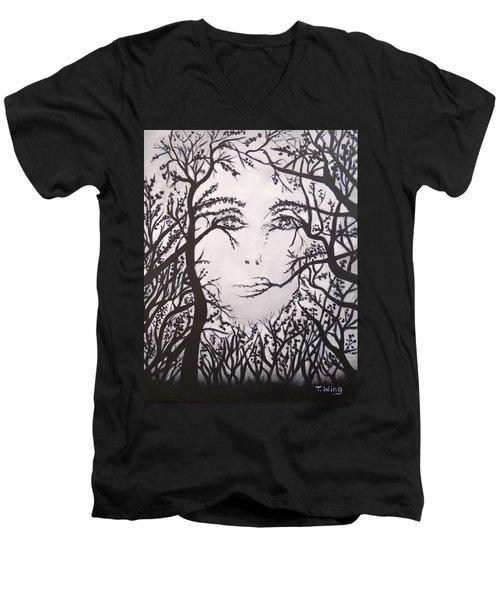 Hidden Face Men's V-Neck T-Shirt by Teresa Wing