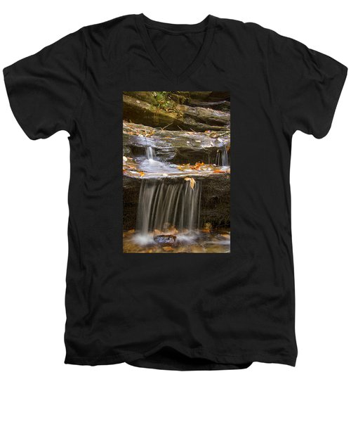 Men's V-Neck T-Shirt featuring the photograph Hidden Falls Detail by Bob Decker