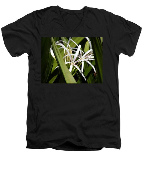 Men's V-Neck T-Shirt featuring the photograph Hidden Swamp Lily by Rosalie Scanlon
