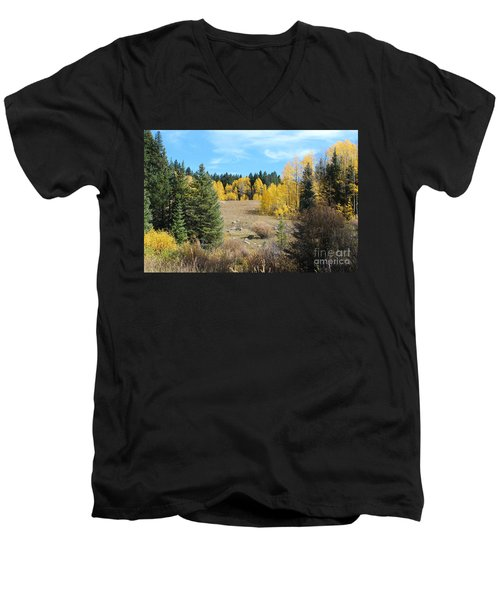 High Country Autumn Colors In Colorado Men's V-Neck T-Shirt