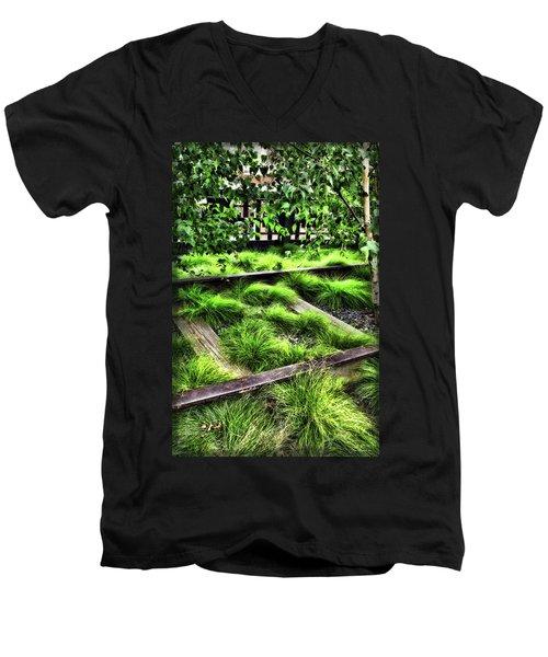High Line Nyc Railroad Tracks Men's V-Neck T-Shirt