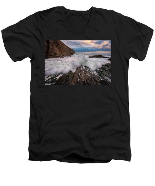 Men's V-Neck T-Shirt featuring the photograph High Tide At Bald Head Cliff by Rick Berk