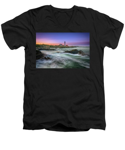 Men's V-Neck T-Shirt featuring the photograph High Tide At Portland Head Lighthouse by Rick Berk