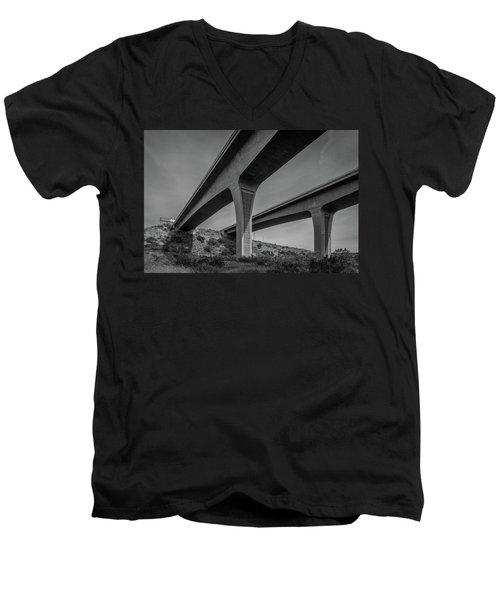 Highway 52 Over Spring Canyon, Black And White Men's V-Neck T-Shirt