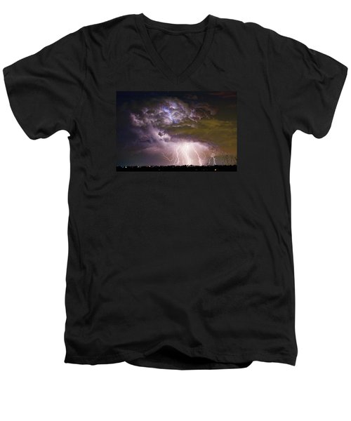 Highway 52 Storm Cell - Two And Half Minutes Lightning Strikes Men's V-Neck T-Shirt by James BO  Insogna
