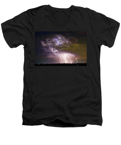 Highway 52 Storm Cell - Two And Half Minutes Lightning Strikes Men's V-Neck T-Shirt
