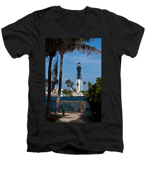 Hillsboro Inlet Lighthouse And Park Men's V-Neck T-Shirt