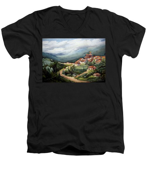 Men's V-Neck T-Shirt featuring the painting Himalayan Village  by Samiran Sarkar