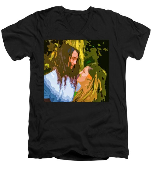 Hip Lovers Men's V-Neck T-Shirt by Josy Cue