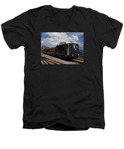 Historic Cogwheel Train  Men's V-Neck T-Shirt by Ernst Dittmar