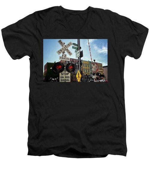 Historic Depot Town Ypsilanti Mi Men's V-Neck T-Shirt