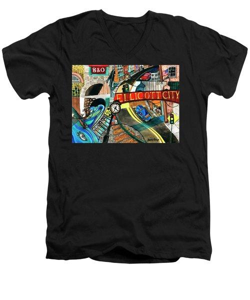 Historic Ellicott City Steam And Stone Men's V-Neck T-Shirt