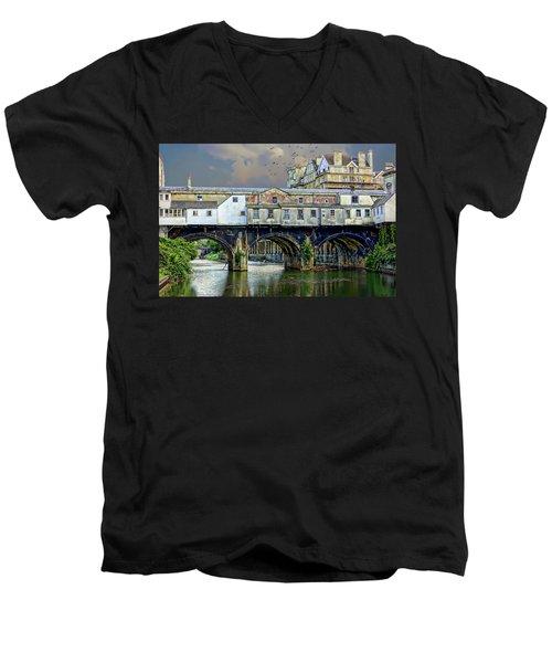 Historic Pulteney Bridge Men's V-Neck T-Shirt