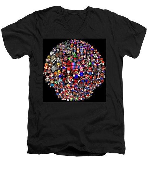 History Of Mario Mosaic Men's V-Neck T-Shirt