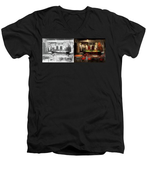 Men's V-Neck T-Shirt featuring the photograph Hobby - Pool - The Billiards Club 1915 - Side By Side by Mike Savad