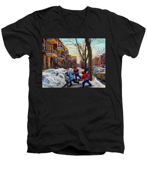 Hockey On De Bullion  Men's V-Neck T-Shirt