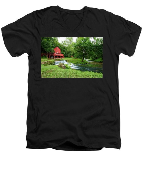 Hodgson Water Mill And Spring Men's V-Neck T-Shirt by Cricket Hackmann