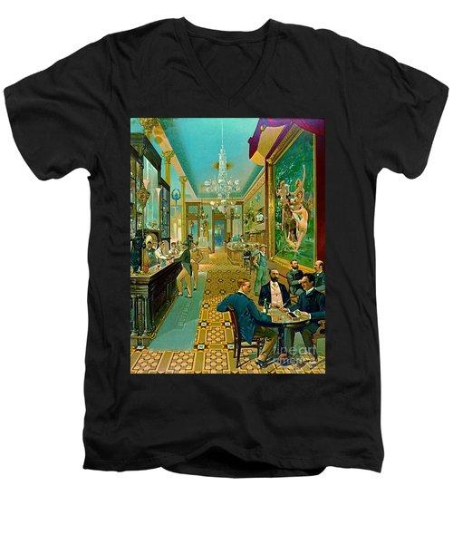Hoffman House Bar 1890 Men's V-Neck T-Shirt by Padre Art