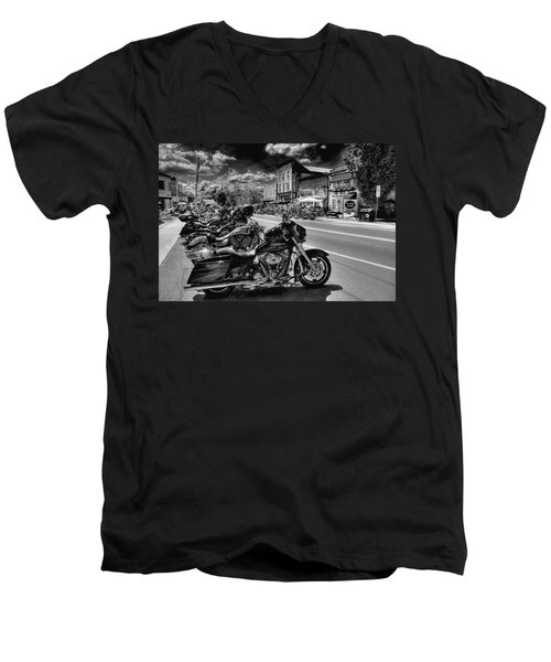 Hogs On Main Street Men's V-Neck T-Shirt by David Patterson
